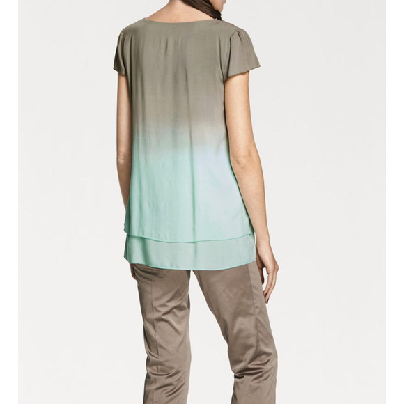 Blusenshirt, taupe-mint von Ashley Brooke Grösse 38