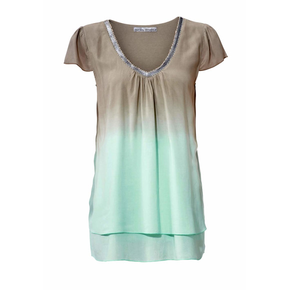 Blusenshirt, taupe-mint von Ashley Brooke Grösse 42