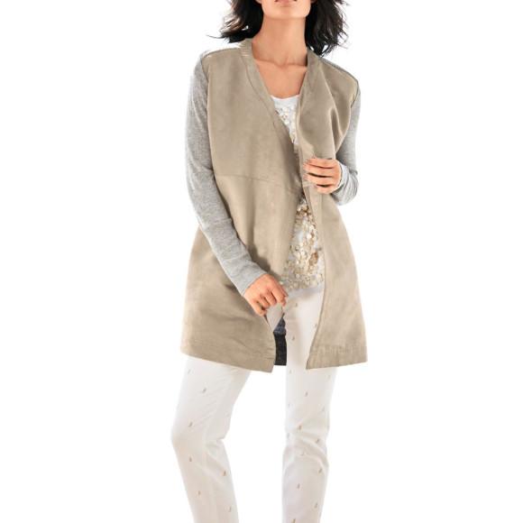 Velours-Strickjacke, grau-beige von PATRIZIA DINI Grösse 34