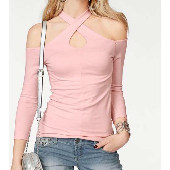 Cut-Out-Shirt, rosé von Melrose Grösse 42