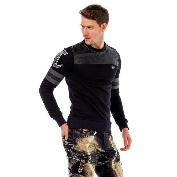 Cipo & Baxx CL308 Designer Pullover mit Schlangenoptik